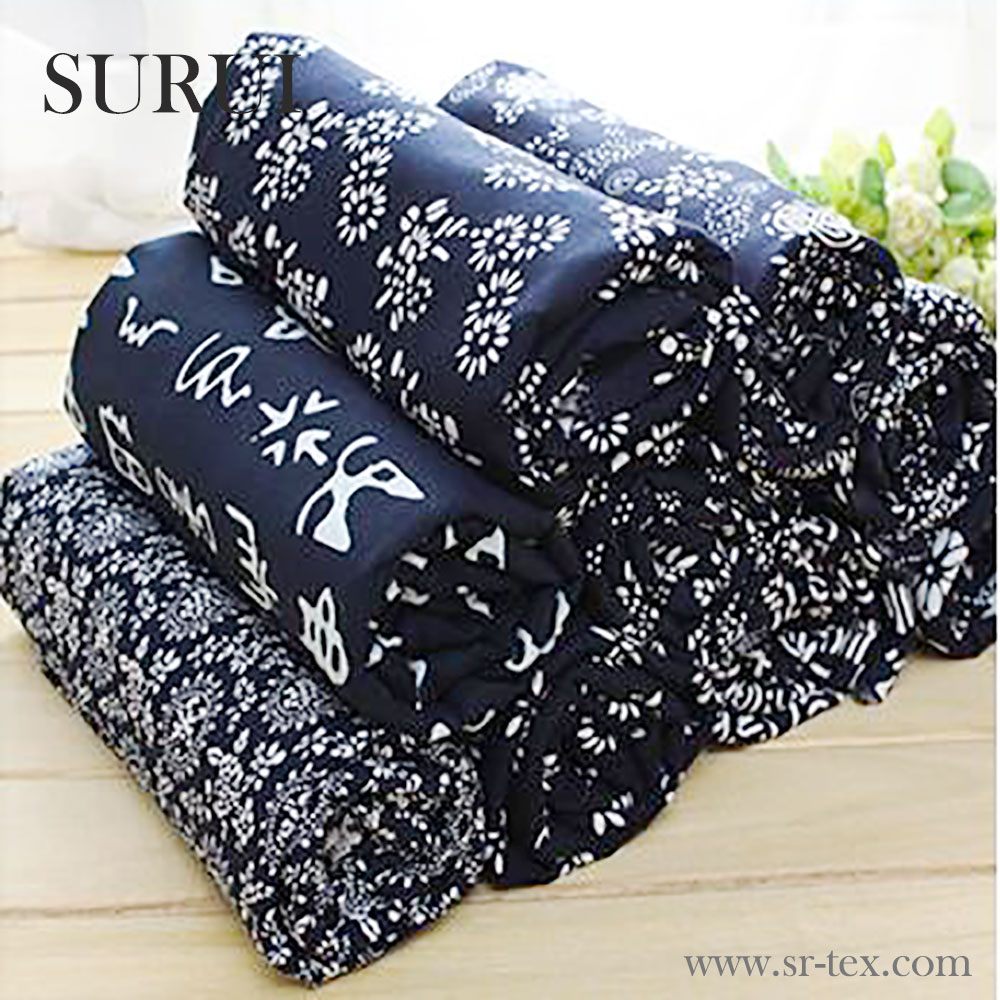 China Wuzhen authentic handmade cloth fabric printed blue and white flower