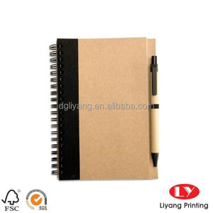 kraft paper cover wire-o binding A5 size student notebook with pen custom printing