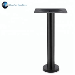 Black powder coated metal fixed iron stone pedestal table legs steel coffee dining table base