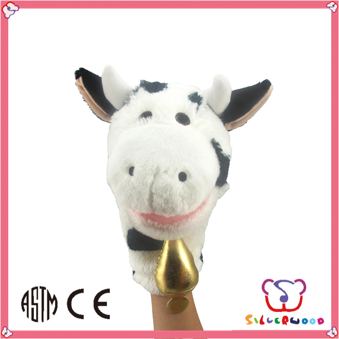 GSV SEDEX Factory high quality soft farm animal toys plush cow hand puppet