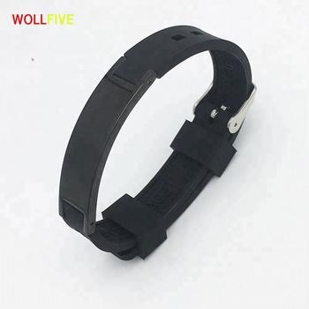 Black Adjule Silicone Energy Balance Bracelets For Men