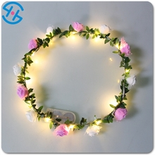 2017 promotion items waterproof beautiful luminous stylish Hawaiianattractive shinny christmas wreath with led lights