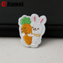 Big factory machine embroidered label iron on rabbit embroidery patch