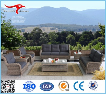 Deep Seating Garden Lounge Furniture Outdoor Patio Wicker Rattan Sofa Set with Coffee Table