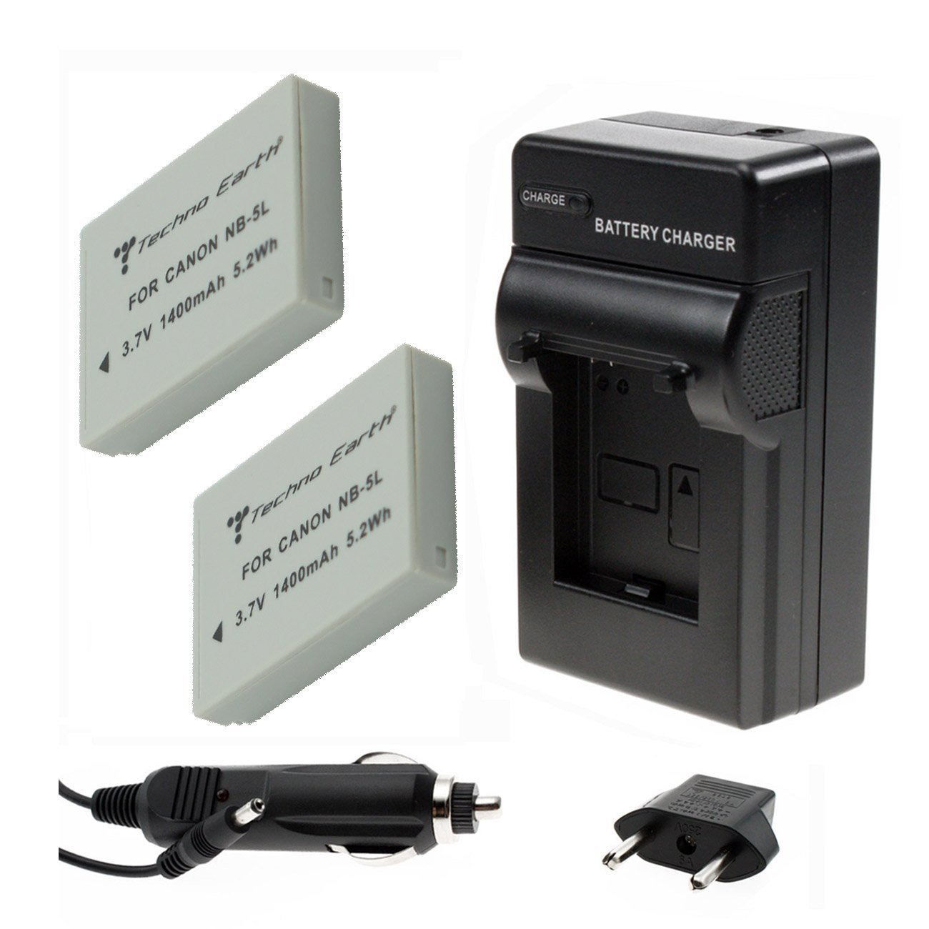 TECHNO EARTH® 2-PACK BATTERY AND 1 CHARGER FOR CANON NB-5L AND CANON POWERSHOT S100, S110, SD700 IS, SD790 IS, SD800 IS, SD850 IS, SD870 IS, SD880 IS, SD890 IS, SD900 IS, SD950 IS, SD970 IS, SD990 IS, SX200 IS, SX210 IS, SX220 IS, SX230 HS