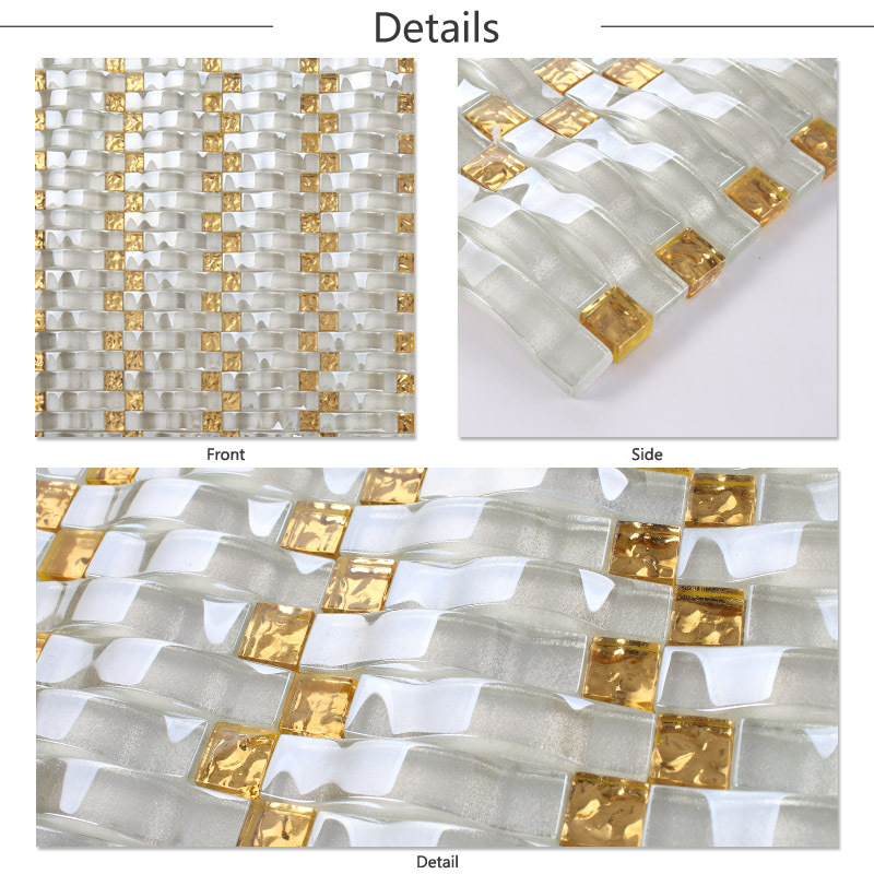 Lj jy g 14 premium wavy basket weave shape strip glass Decorative wall tiles for living room