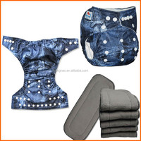 2016 Best seller My Choice Newest Patterns Baby Cloth Nappies With Charcoal Bamboo Insert Washable Diapers