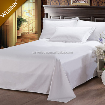Cheap Bulk Wholesale White Embroidery Logo Hotel Cotton Bed Sheets  Manufacturers In China