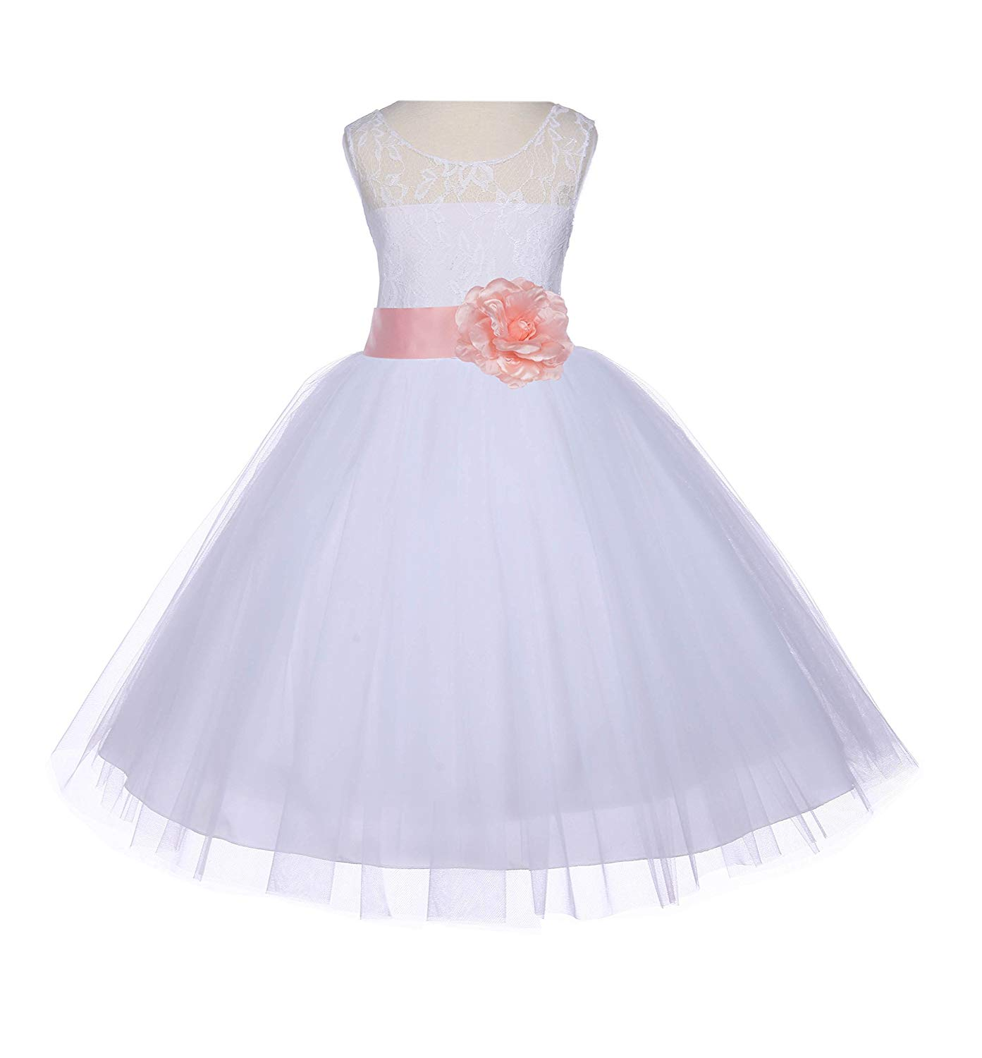 ekidsbridal White Floral Lace Bodice Tulle Flower Girl Dress Wedding Tulle Dresses 153T