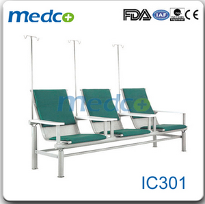 IC301 Three seats hospital waiting chair with iv stand