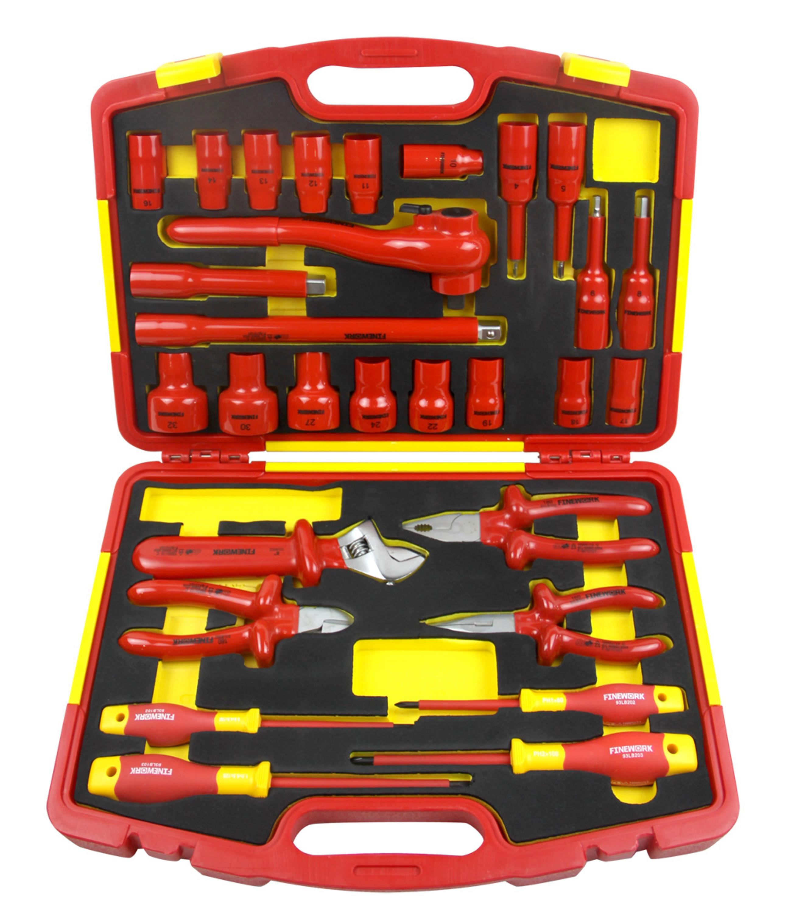 China VDE 29PCS Insulated Mechanical Electrical Combination Home Household Box Hand Tool Set
