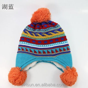 6358cca9c5e wholesale cuff custom acrylic womens bobble hat custom design pom pom hat  knitted pattern