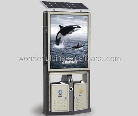 Solar powered outdoor scrolling advertising dustbin (F-02)