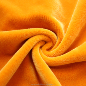 Orange Yellow Color Plush Velvet Fabric / Supersoft Spandex Velboa Fleece