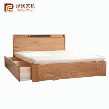 massief eiken bed kamer meubels dubbele bed met lades