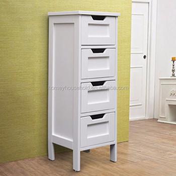 White Wooden 4 Drawer Bathroom Storage Cabinet Standing Unit