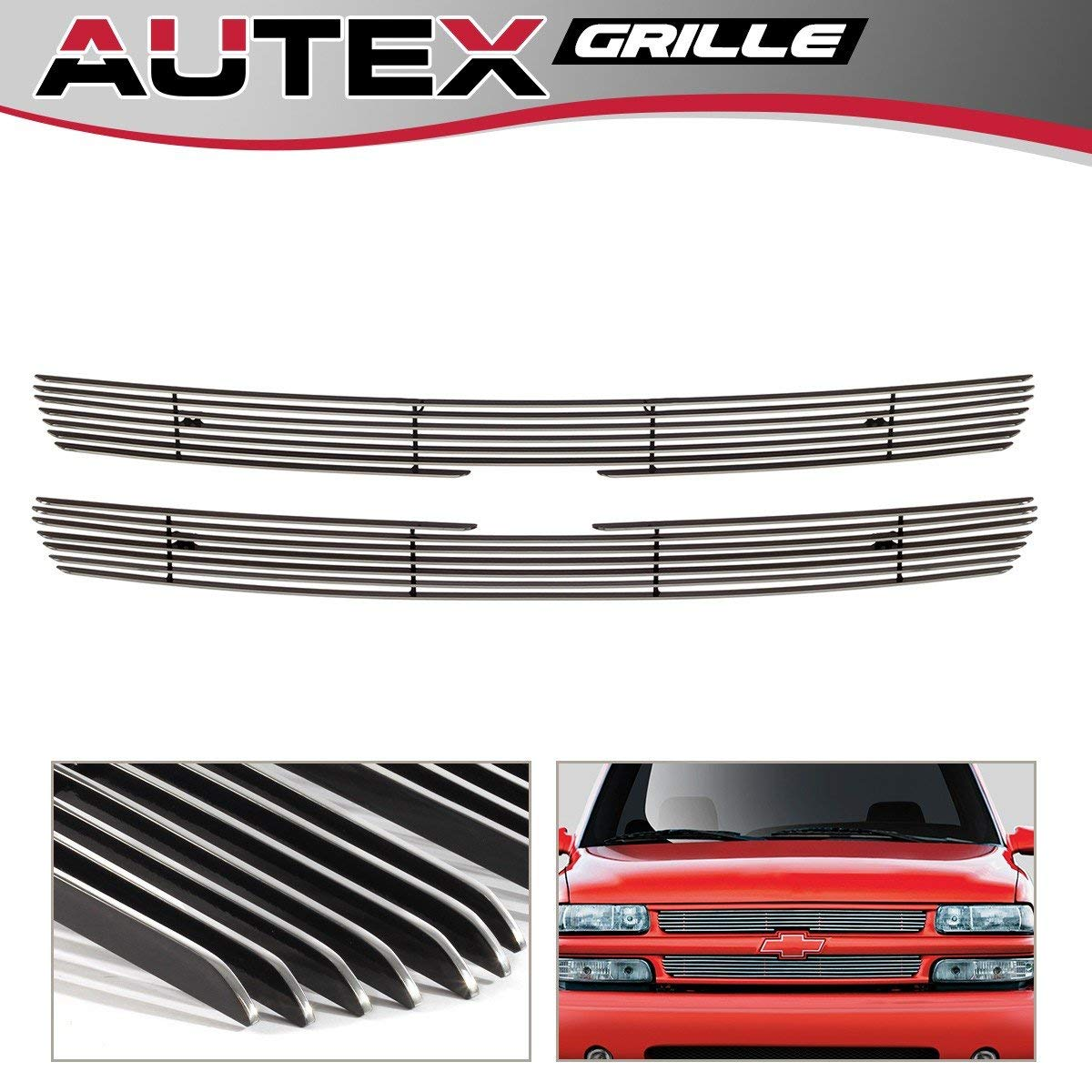 AUTEX C65701A Aluminum Polished Chrome Billet Grille Insert Compatible With 1999-2002 Chevy Silverado 1500/1500HD, 1999-2000 Chevy Silverado 2500/2500HD/3500, 2000-2006 Chevy Tahoe/Suburban Grill