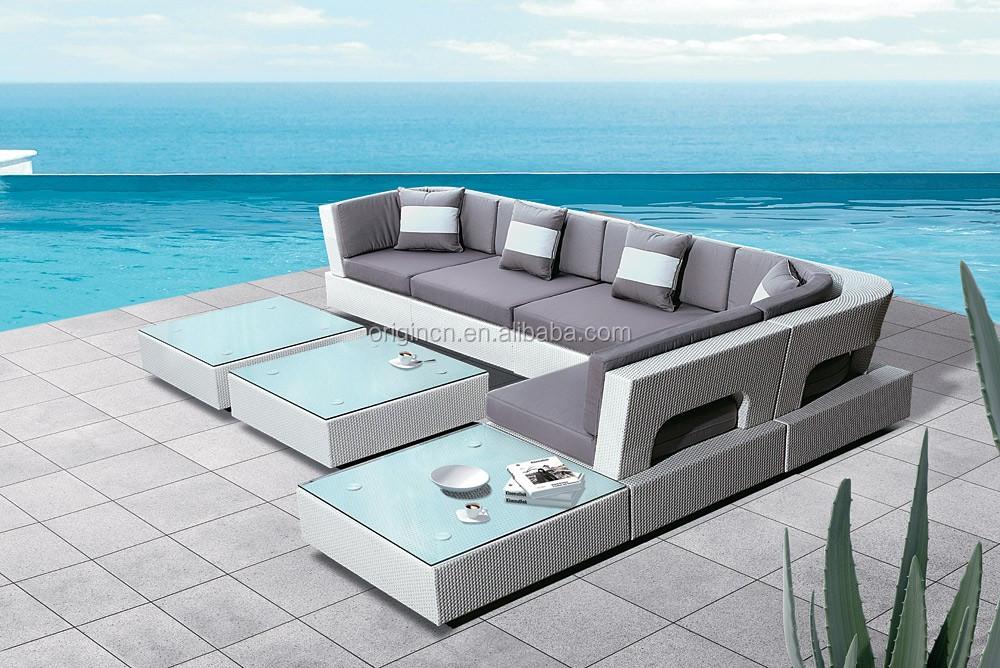 7 Piece Curved Modern L Shape Outdoor Corner Sofa Cheap