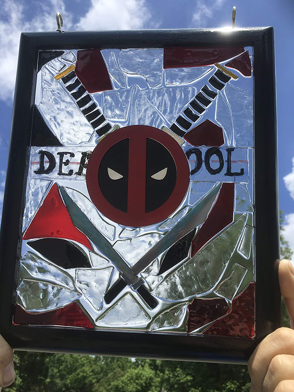 DeadPool stained glass sun catcher window art