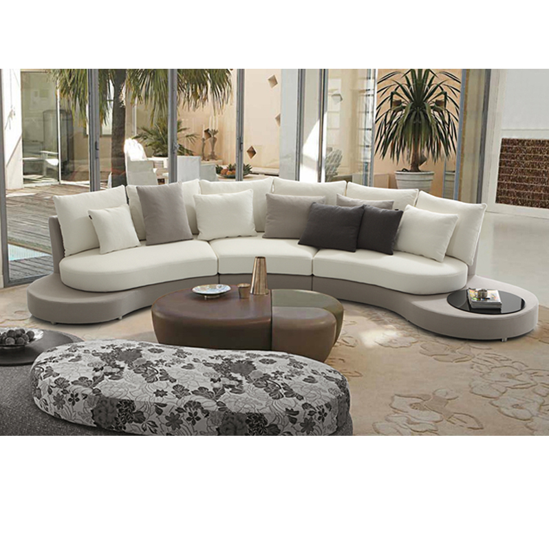Modern Chairs Top 5 Luxury Fabric Brands Exhibiting At: Ginotti Brown Curved Fabric Modern Furniture Sofa Set