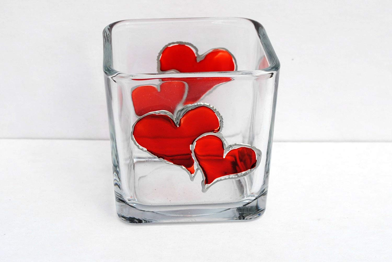 Valentine Red Hearts Hand Painted Stained Glass Square Candle Holder