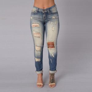 Fashion denim jeans hole jeans female distressed ladies jeans top design Ripped pants, Boyfriend pants