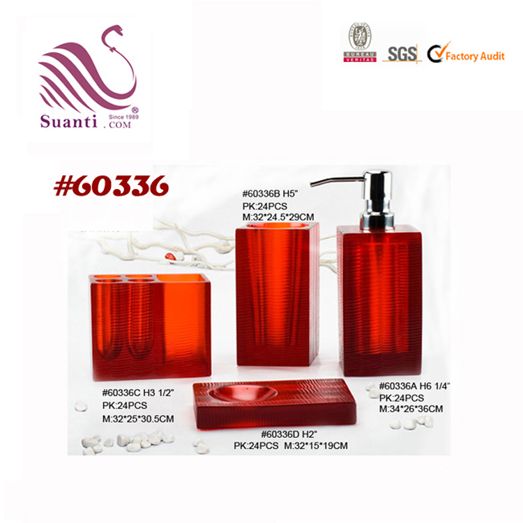 4pcs Square Dark Red Translucent Resin Bath Set for Hotel and Home Bathroom Accessories