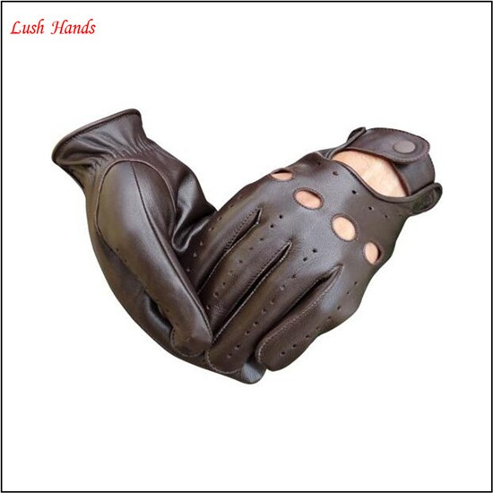 2016 men's fashion drving brown sheepskin leather gloves with breath freely holes