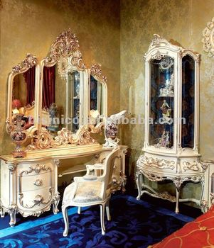 Exceptional Luxury Home Vanity Table Set,classical Dressing Table And Mirror,wooden  Hand Carving Mirrored
