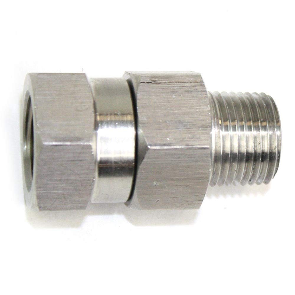 "Interstate Pneumatics PW7166-3/8"" MPT x 3/8"" FPT Stainless Steel Swivel fitting - 4000 PSI"