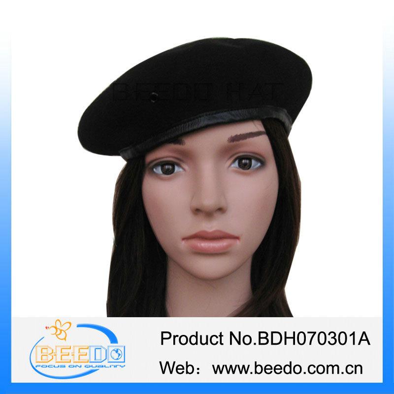 Wool Felt Beret Hat Wool Military Hat Police Beret Caps a3f4f2a4217