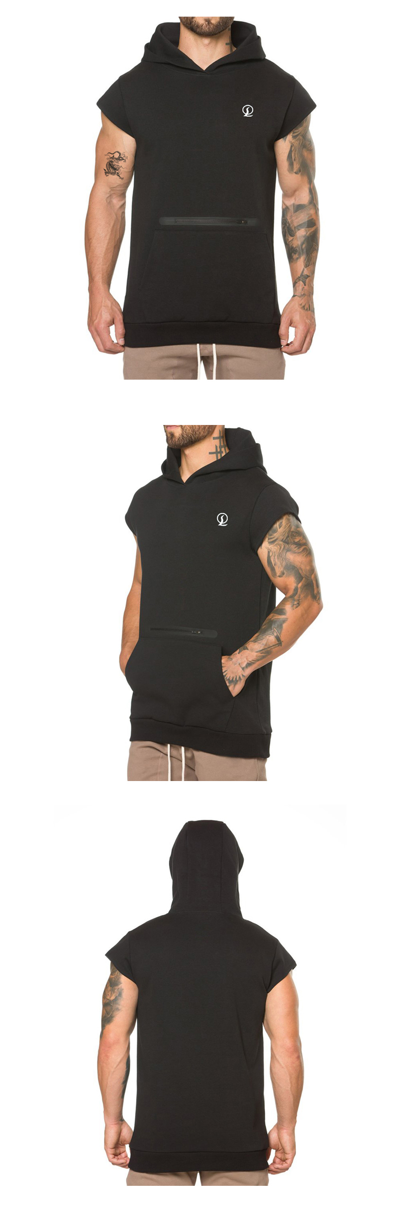Zipper pocket sleeveless sweatshirt hoody cotton polyester hoodies with leather patches fuzzy hooded sweatshirts
