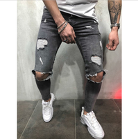 Fashion Men Jeans Hip Hop Cool Streetwear Biker Patch Hole Ripped Skinny Jeans Slim Fit Mens Clothes Pencil Jeans