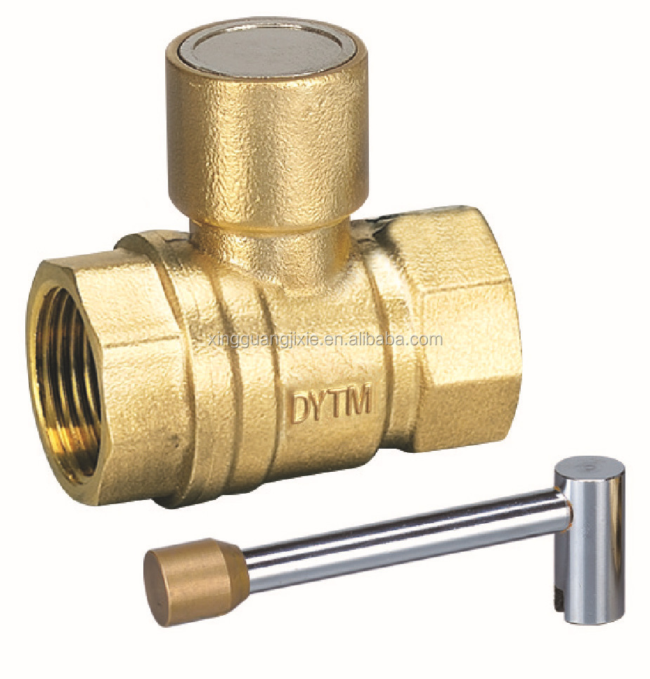 Forged Brass Lockable Valve Magnetic Ball Valve with Lock Handle