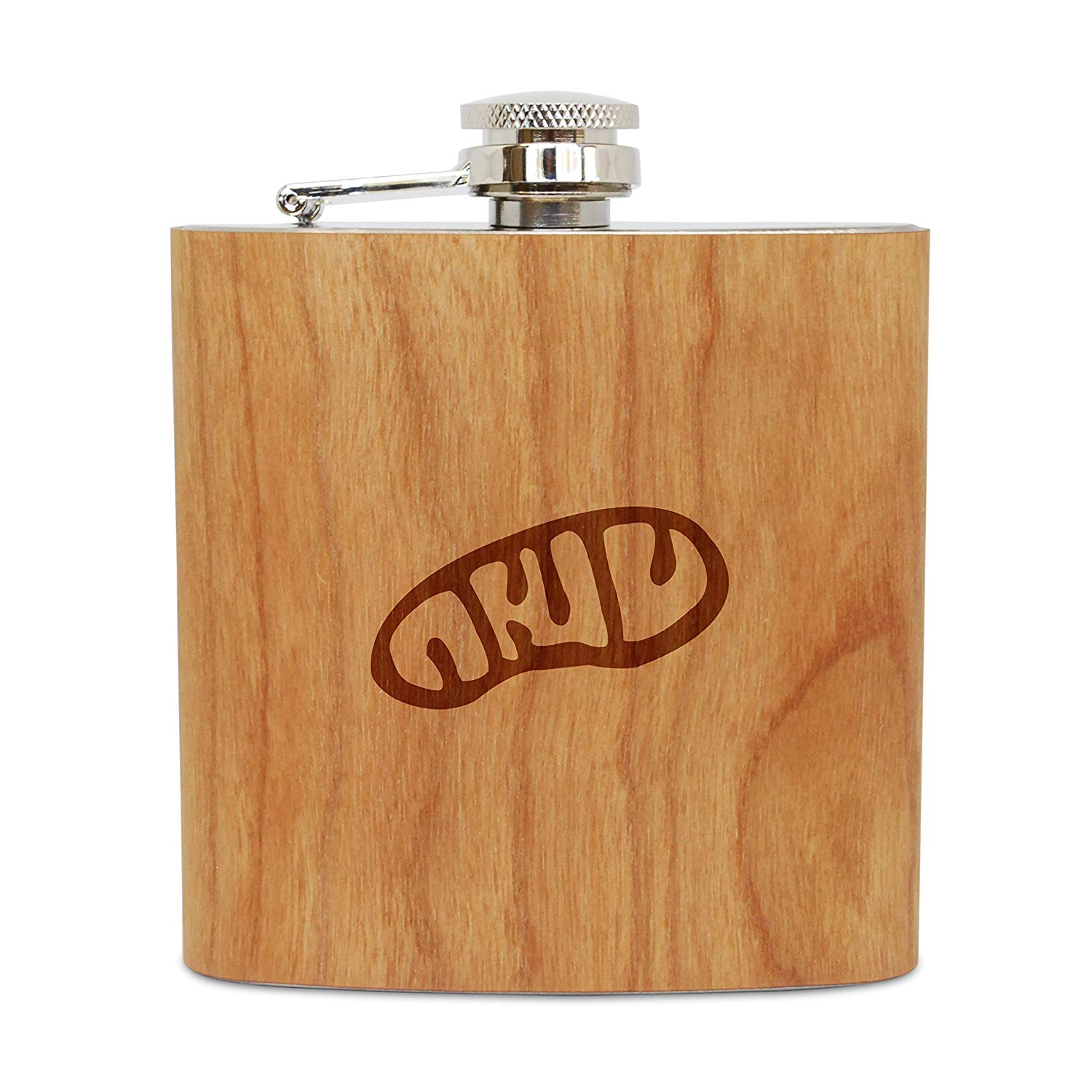 WOODEN ACCESSORIES COMPANY Cherry Wood Flask With Stainless Steel Body - Laser Engraved Flask With Mitochondria Design - 6 Oz Wood Hip Flask Handmade In USA