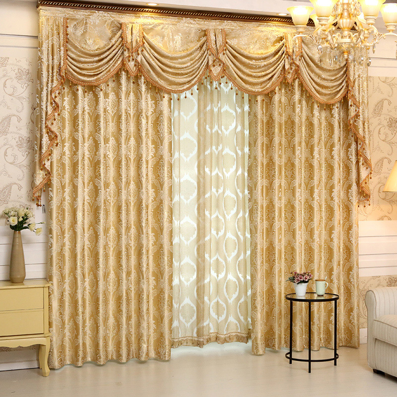 buy 2016 set new europe style curtains luxury jacquard curtains for living. Black Bedroom Furniture Sets. Home Design Ideas