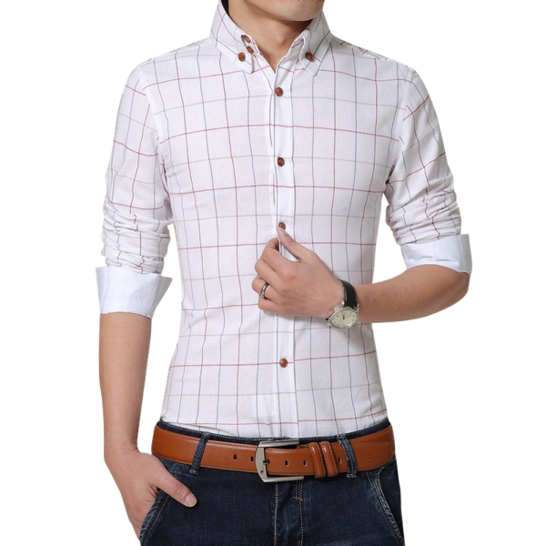 Large Size M 5xl Men Plaid Shirts Spring Autumn Man Dress Casual Office