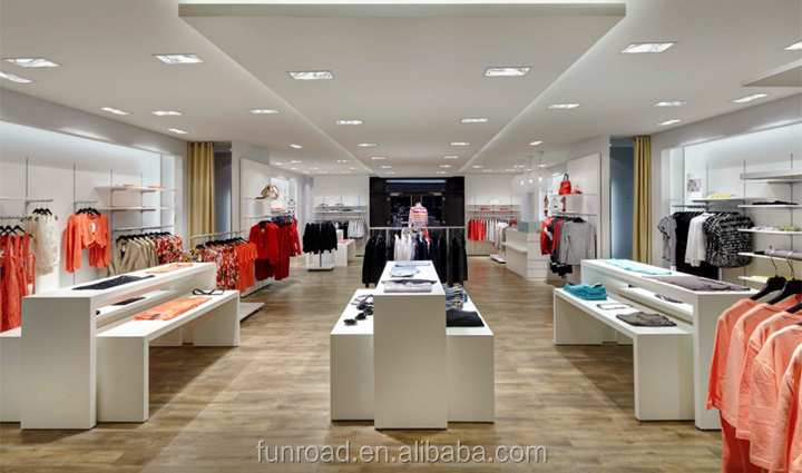 Clothing Store Showroom With Lighting Display Counter