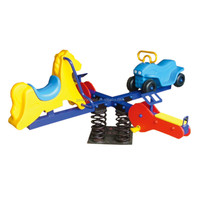 Outdoor playground equipment with kids four seats jumping spring seesaw toy