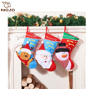 Christmas Santa Stockings Candy Bag,Assorted Flannel Santa Gift Socks Hanging Accessories for Xmas Tree Decoration