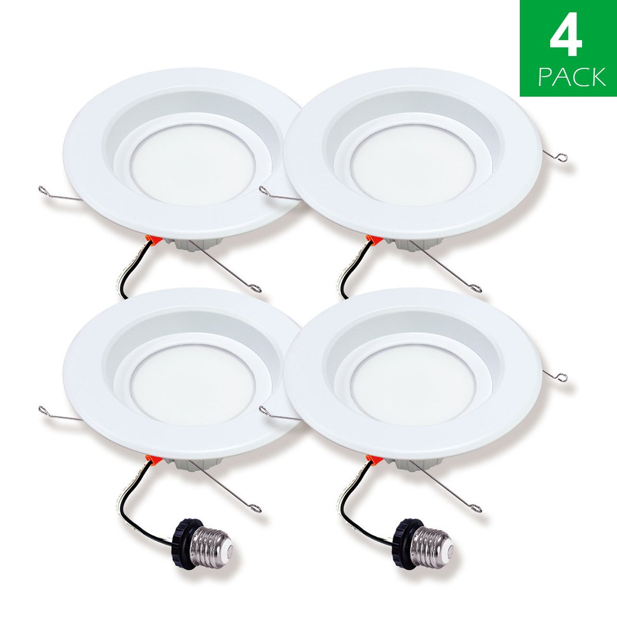 Dimming White Round Downlight 10 Watts 4 Inch 950 Lumens,Equel to 75 Watt indoor light Recessed Downlight 6000K Daylight Recessed ceiling lights,pack of 10units Indee Led Recessed Light