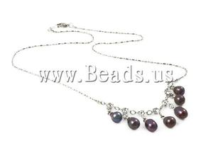 Freshwater Pearl 6-7mm red rhinestone necklace