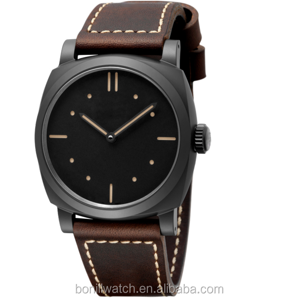Big Square Face Watches Men Made In China,Leather Strap Aviation Watch