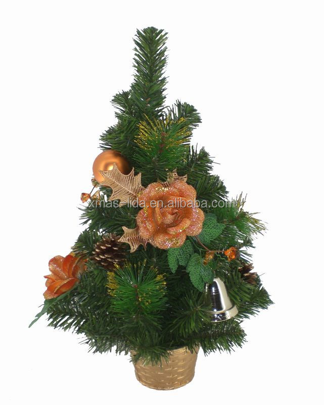 Silver bell and Artificial Pine Needle Decoratived Plastic Christmas Tree