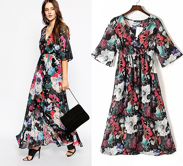 5045592dda7c 2015 New Fashion Floral Print Women Summer Dress Short Sleeve V-Neck Casual  Chiffon Slim A-Line Dresses Elegant Long Dress