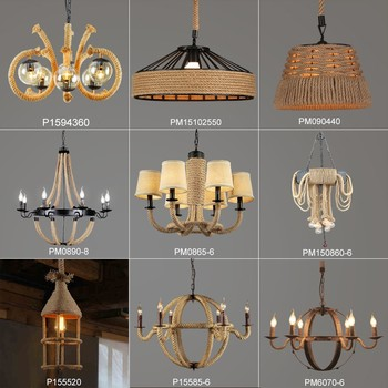 Vintage Style Pendant Lighting Hemp Rope Lamp Edison Light Fixtures Luminarias Lamparas Res De Sala