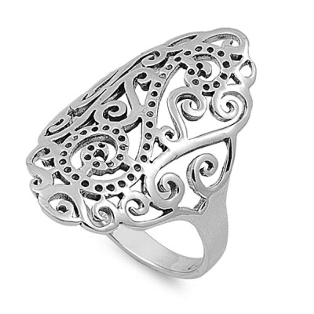 CloseoutWarehouse Grand Filigree Ring Sterling Silver 925