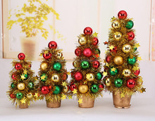 Christmas decoration yellow artificial christmas tree with colorful balls