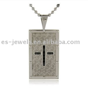 Men's Stainless Steel Pendant w/ Black Cubic Zirconia Cross Design, 24''
