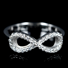 fashion 925 infinity cz cubic zirconia stone white gold ring